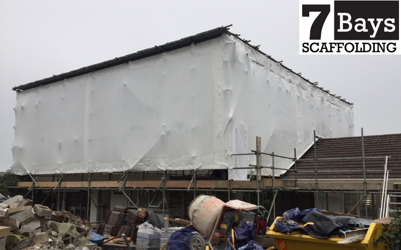 Temporary roofing in cornwall - 7 bays scaffolding