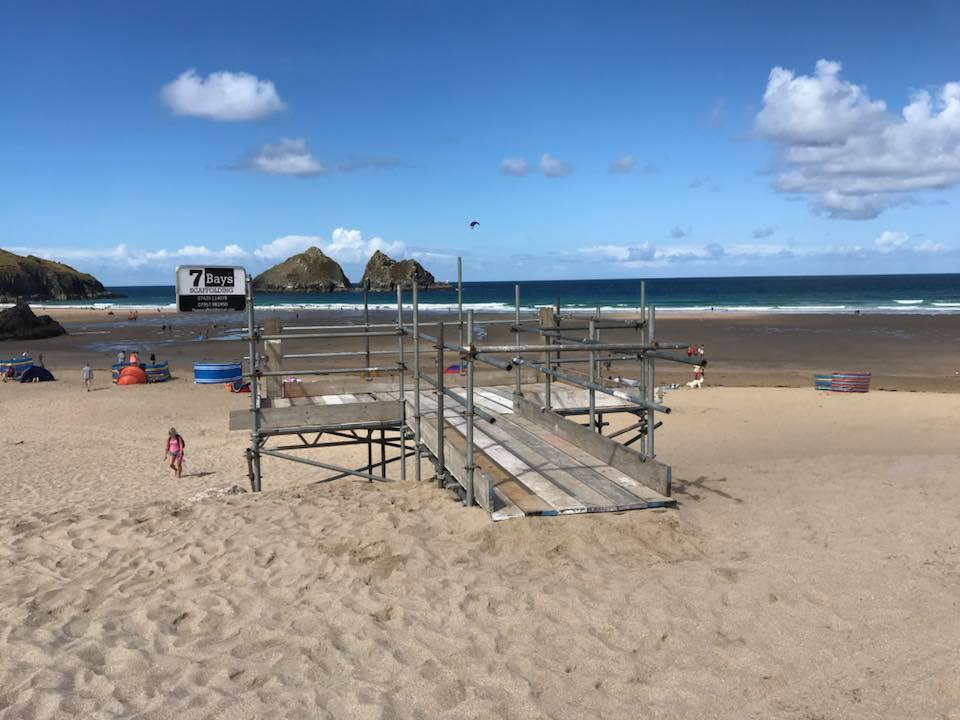 scaffolding on the sand
