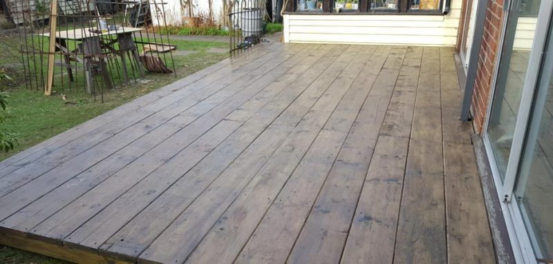 old scaffold boards in cornwall used as decking