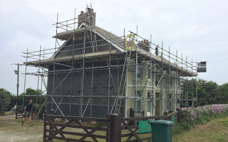 scaffold on historic buildings cornwall